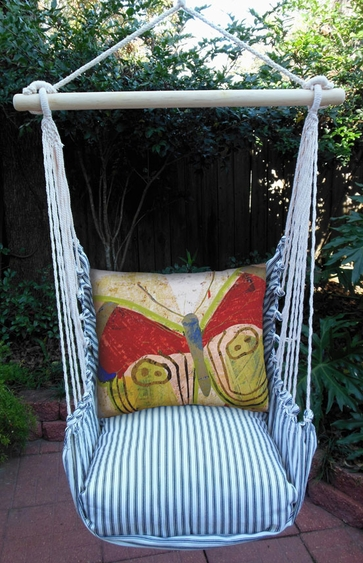Ticking Black Paper Butterfly Hammock Chair Swing Set - Click to enlarge