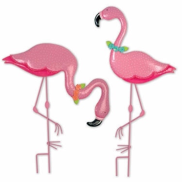 Party Flamingo Garden Stakes (Set of 2) - Click to enlarge