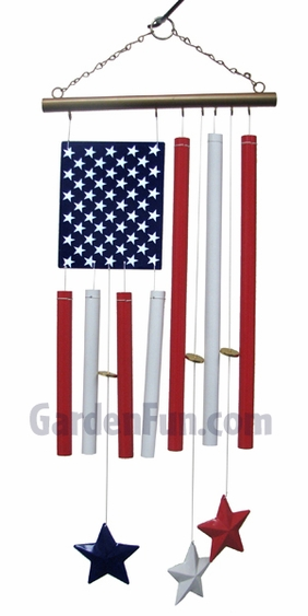 Patriotic American Flag Wind Chime - Click to enlarge