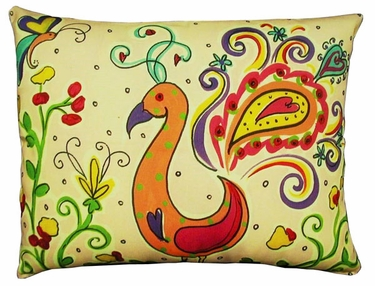 Peacock/Flamingo Outdoor Pillow - Click to enlarge