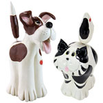 Cat & Dog Statues  (Set of 2)