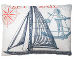 Pier 45 Sailboat Natural Outdoor Pillow