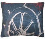 Pier 45 Sailboat Wheel Blue Outdoor Pillow