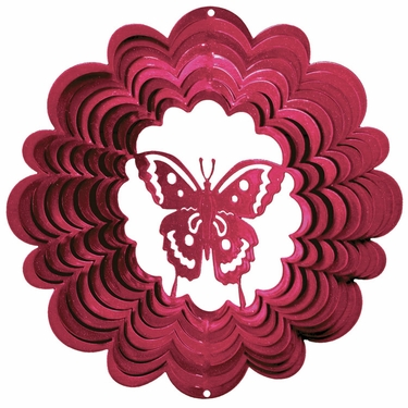 Pink Butterfly Wind Spinner - Click to enlarge