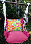 Pink Flowers All Over Hammock Chair Swing Set