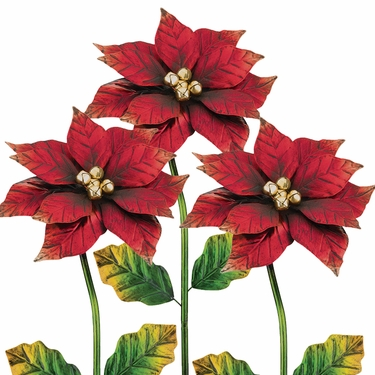 Poinsettia Flower Stakes (Set of 3) - Click to enlarge