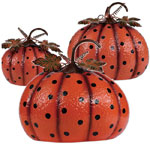 Polka Dot Metal Pumpkins (Set of 3)