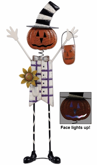 Solar Pumpkin Man Decor - Click to enlarge