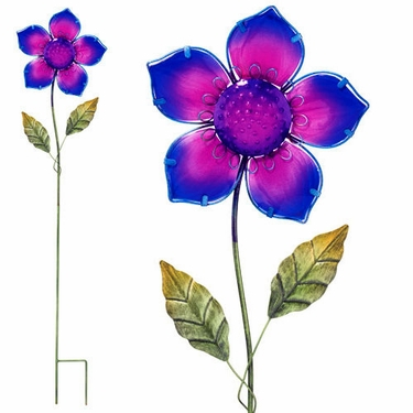 Purple Glass Flower Stake - Click to enlarge