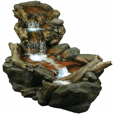 Rainforest Creek Three-Tier Fountain w/LED Lights - Click to enlarge