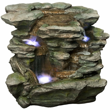 Rainforest Rock Waterfall Fountain w/LED Lights - Click to enlarge