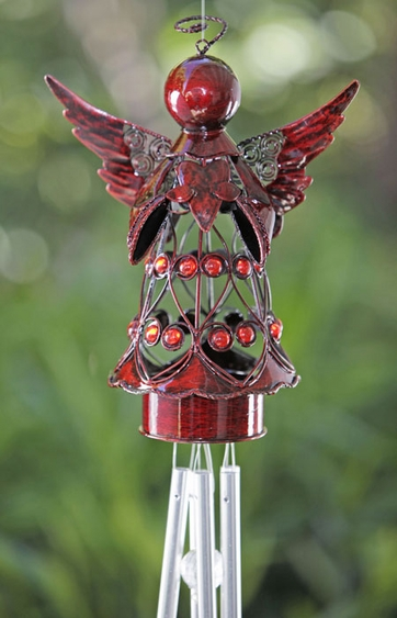 Red Angel w/Heart Wind Chime - Click to enlarge