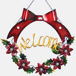 Red Bow LED Welcome Garland Wreath