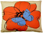 Red Flower w/Butterfly Outdoor Pillow