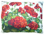Red Geranium/White Outdoor Pillow