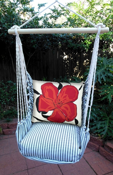Ticking Black Red Hibiscus Hammock Chair Swing Set - Click to enlarge