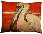 Red Pelican Outdoor Pillow