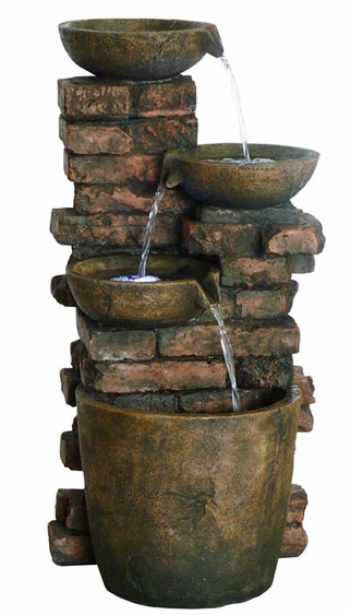 Rustic Bricks Pouring LED Fountain - Click to enlarge