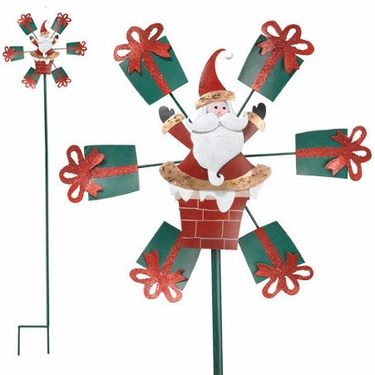 Santa Chimney Garden Spinner - Click to enlarge