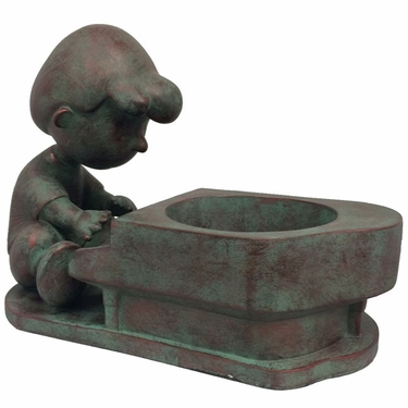 Schroeder Peanuts Planter - Bronze Patina - Click to enlarge