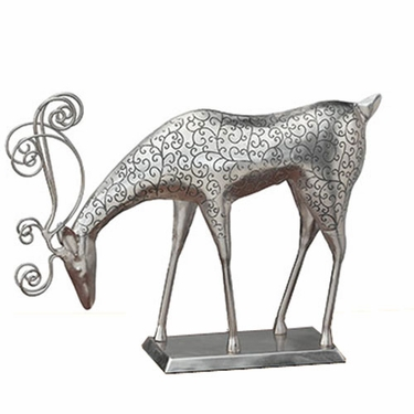 Silver Reindeer Feeding Decor w/Base - Click to enlarge