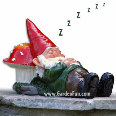 Sleeping Gnome on Mushroom Garden Statue - Click to enlarge