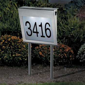 Solar Address Numbers - Stainless Steel - Click to enlarge