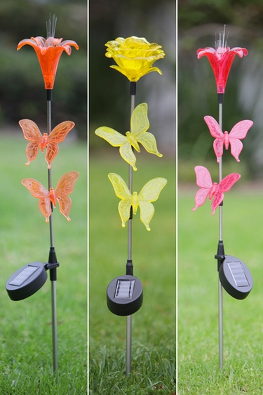 Solar Butterfly Garden Stakes (Set of 3) - Click to enlarge