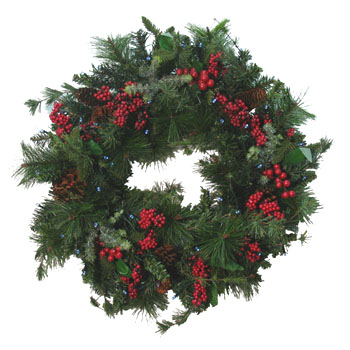 Solar Christmas Winterberry Wreath - Click to enlarge