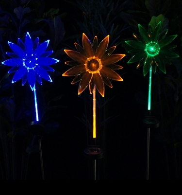 Solar Flower Fiber Optic Stakes (Set of 3) - Click to enlarge