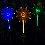 Solar Flower Fiber Optic Stakes (Set of 3)