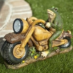 Solar Frog Motorcycle Statuary