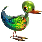 Solar Glass Duck Statue with 8 LED Light String