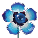 Solar Glass Flower Garden Stake - Blue