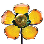 Solar Glass Flower Garden Stake - Yellow