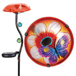 Solar Glass Mushroom  - Flower & Butterfly
