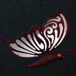 Solar Hanging Butterfly - Red