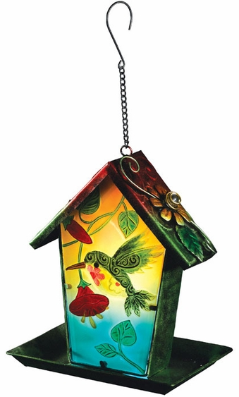 Solar Hummingbird Lantern Bird Feeder - Click to enlarge