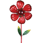 Solar Kinetic Flower Garden Stake - Red