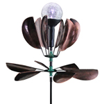 Solar Kinetic Lotus Garden Stake - Bronze