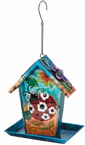 Solar Ladybug Lantern Bird Feeder - Click to enlarge