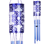 Solar Laser Cut Flower Wind Chime - Blue