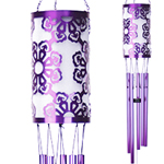 Solar Laser Cut Flower Wind Chime- Purple