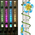 Solar LED Bubble Stake - Blue Flowers