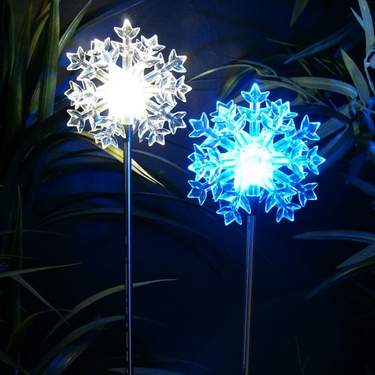 Solar LED Snowflake Stakes (Set of 2) - Click to enlarge