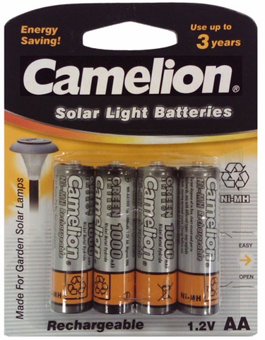 Solar Light Batteries - AA Ni-Mh 4-pack - Click to enlarge
