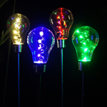 Solar Light Bulb Garden Stakes (Set of 4)