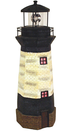 Solar Lighthouse Decor w/Rotating Beacon - Click to enlarge
