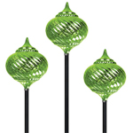 Solar Onion Finial Stakes (Set of 3) - Green