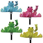 Solar Peace Frog Garden Stakes (Set of 4)